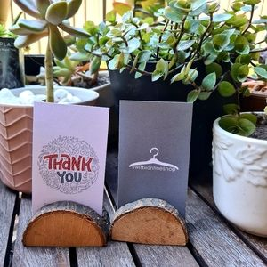 Rustic Wooden Business Card Holders Set of 2